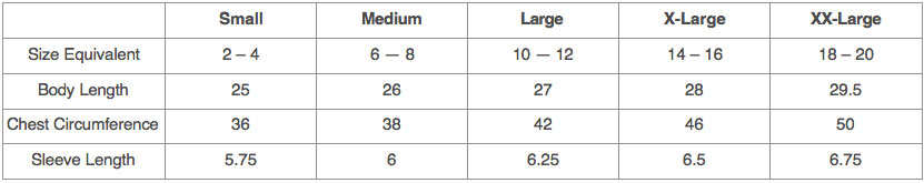 Longer Length Tee Sizing Chart